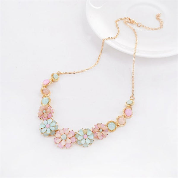 Gold Multi Color Flower Necklace