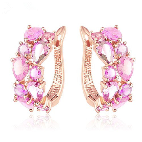 Gold Plated Multi Crystal Earrings