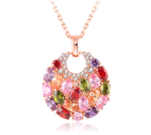 18K Gold Plated Multicolor Crystal Necklace