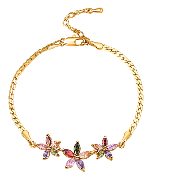 18K Gold Plated Flower Charm Bracelet