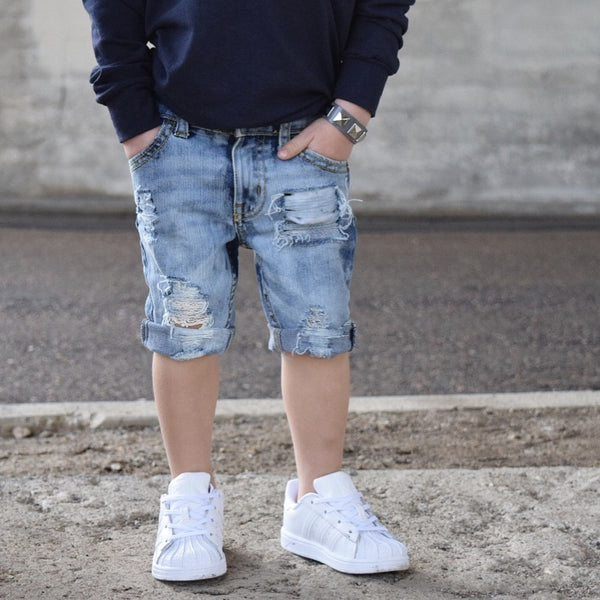 "LIght Wash ""Cuffed & Roughed"" Shorts"