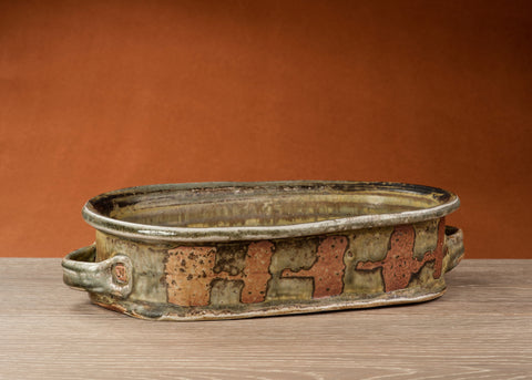 The Barker Meadow oblong Serving Casserole  made by Julie Naster using a wood fired kiln