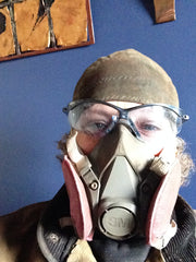 Kevan Krasnoff wearing a military gas mask