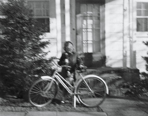 Here I am with my prize getaway vehicle, a rose and a cute dog in front of the stoop at 52 Rhoda Ave