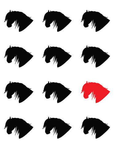booklet page of 4 rows of horse heads, all black except one red third row down on the right - the horse of a different color