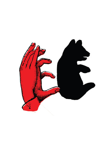 persons hand gives shadow of a bear