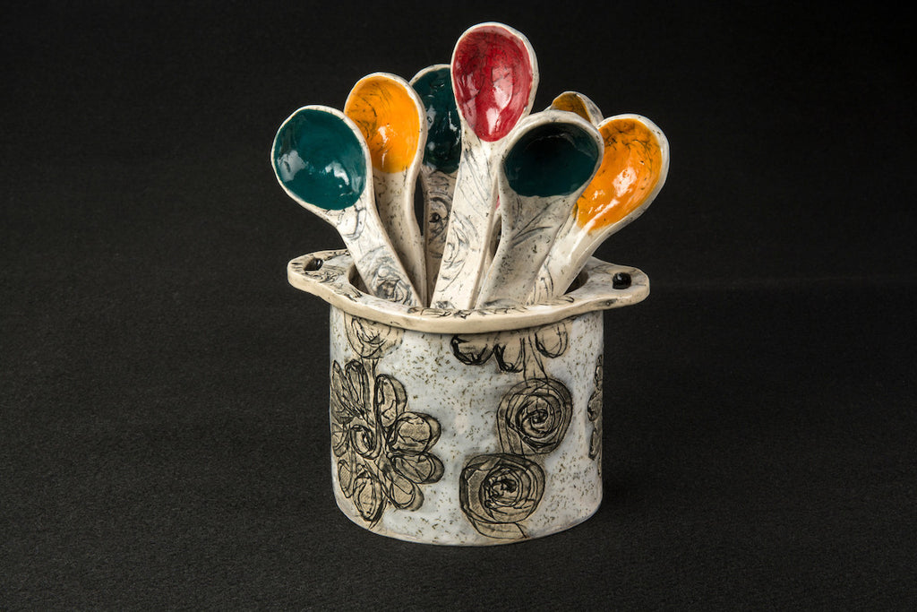 Starry Starry Night Collection Spoon Bouquet Vase - Flaming flowers and swirling clouds - 52RHODA