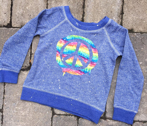 French Terry Pullover-Blue with Tie Dye Drippy Peace Sign