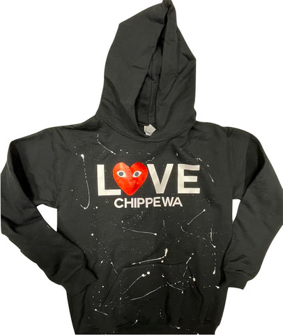 Pullover Hooded Sweatshirt-LOVE Heart with Eyes