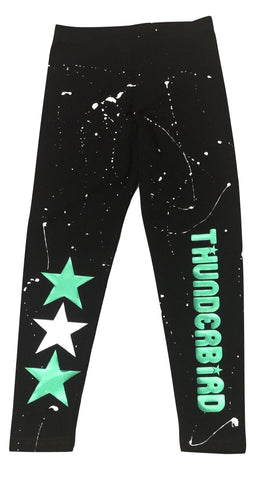 Custom Splatter Painted Leggings with 3 Stars and Camp Name