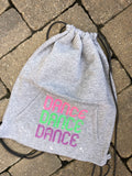 Custom splatter painted sweatshirt cinch sak bag