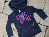 Navy Blue Long Sleeve Hoodie with Pouch-Epic Girl