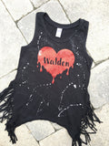 Black Fringe Tank with Drippy Heart and School