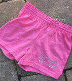 Girls Soffe Shorts-Pink with Peace Love Happy