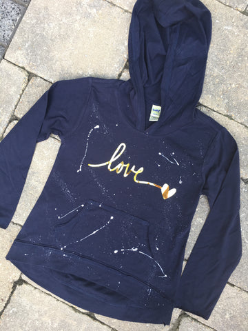 Navy Blue Long Sleeve Hoodie with Pouch-love