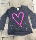 Grey Raw Edge High Low Long Sleeve - Open Heart