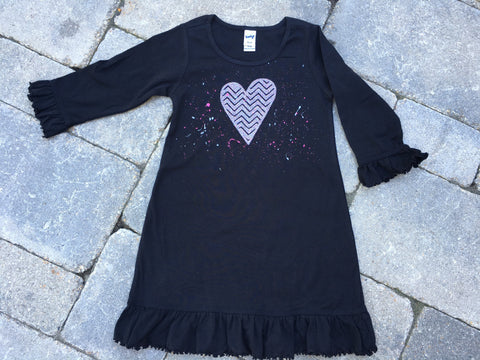 3/4 Sleeve Custom Splatter Painted Dress-Black