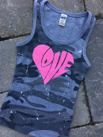 Grey Camo Tank with LOVE Heart