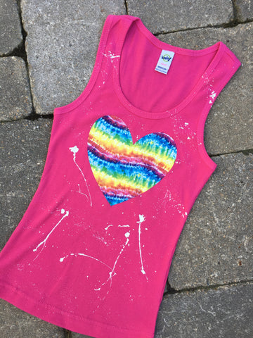 Pink Beater Tank with Tie Dye Heart
