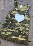 Camo Tank Dress with White Sparkle Heart