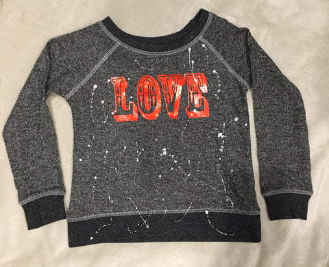 French Terry Pullover-Black LOVE