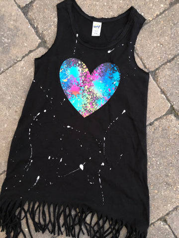 Black Fringe Tank Dress with Splatter Heart
