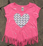 Pink V-Fringe Short Sleeve with Unicorn Heart