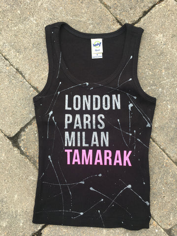 Black Beater Tank with Cities