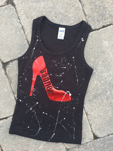 Black Beater Tank with High Heel