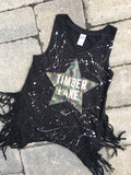 Black Fringe Tank with Camo Star and Gold Name