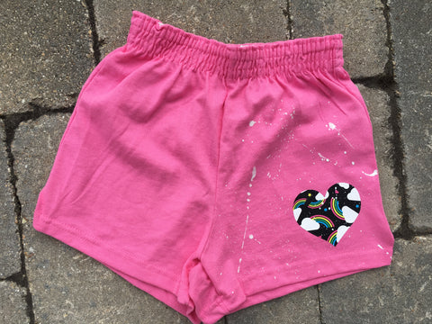 Girls Soffe Shorts-Pink with Rainbow Heart