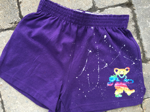 Girls Soffe Shorts-Purple with Tie Dye Bear