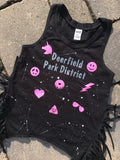 Black Fringe Tank with Patches and Name