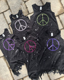 Black Fringe Tank Dress - Peace sign with tiny hearts