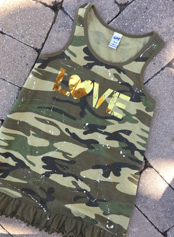 Camo Tank Dress with Gold Foil LOVE