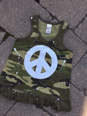 Camo Tank Dress with White Sparkle Peace Sign
