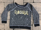 French Terry Pullover-Black with Gold Foil Karma