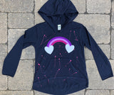 Navy Blue Long Sleeve Hoodie with Pouch-Rainbow with Hearts