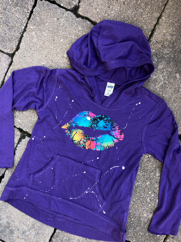 Purple Long Sleeve Hoodie with Pouch-splatter lips