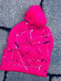Splatter Painted Pom-Pom Hat