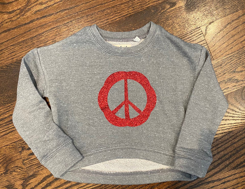 Grey Cropped Sweatshirt-Red Peace-size 4-GIT