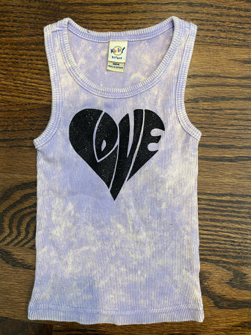 Purple tie dye beater tank with black LOVE-sz 18 mos-RUNS SMALL-GIT