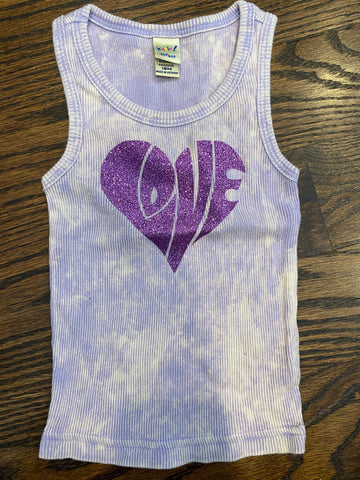 Purple tie dye beater tank with purple LOVE-sz 18 mos-RUNS SMALL-GIT