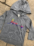 Grey Long Sleeve Hoodie with Pouch-rainbow foil love in script