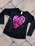 Black Raw Edge High Low Long Sleeve - Foil Scribble Heart