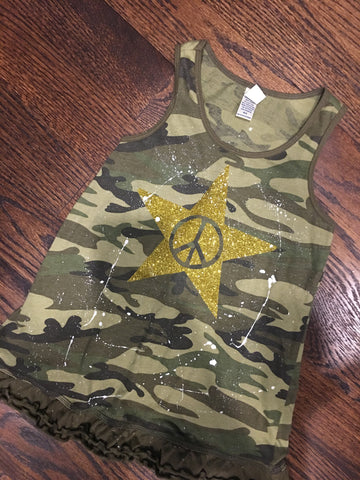 Camo Tank Dress with Peace Star