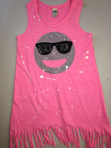 Pink Fringe Tank Dress-silver emoji with sunglasses