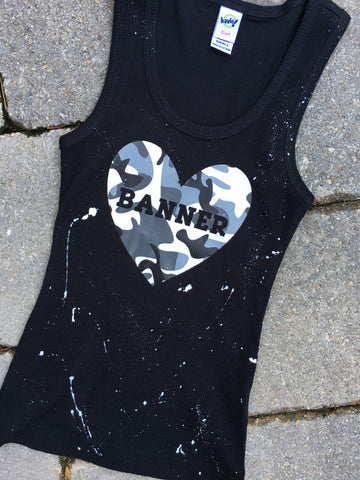 Black Beater Tank with Camo Heart