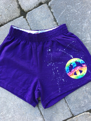 MEDIUM Soffe Shorts-Purple with Tie Dye Peace Sign