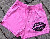 Girls Soffe Shorts-Pink with lips